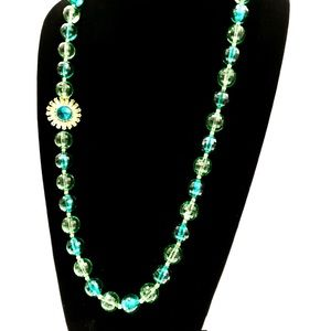 KATE SPADE green/gold crystal flower bead necklace